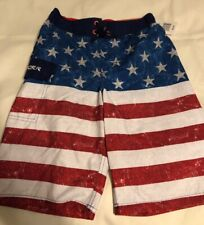 Zeroxposur Boys US Flag Patriotic Stars & Stripes Swim Shorts Surf Trunks Size 8