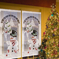 Christmas Curtain White Lace Snowman Window Door Xmas Decor Home Party Hanging