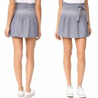 CURRENT ELLIOTT The Short Rancher Skirt chambray with off white embroidery Sz 1