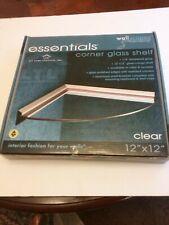 Wallscapes Essentials 12-inch Corner Clear Glass Shelf Kit Silver