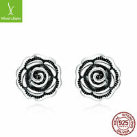 Authentic 925 Sterling Silver Black Rose Flower Stud Earrings For Women Jewelry