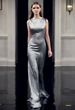 VICTORIA BECKHAM RUNAWAY COUTURE SILVER METALLIC DRESS GOWN UK 10 US 6 F 38 I 42