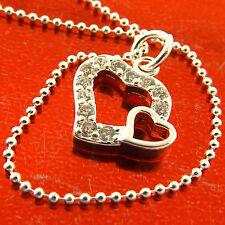 Fsa687 Genuine 925 Sterling Silver S/F Diamond Simulated Pendant Necklace Chain