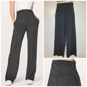 Lululemon Take It Easy Pants Heathered Black Wide Leg Relaxed Fit Yoga Size 10