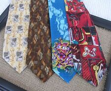4 Men's Neck Ties 100% Silk Authentic Ed Hardy Tommy Bahama Zegna Italy VG