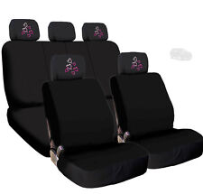 New Car Black Cloth Seat Covers and Red Pink Hearts Logo 4X Headrest For Jeep