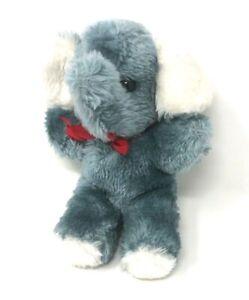 Blau / Grauer Plüsch Elefant ca. 20 cm groß mit roter Schleife (280)