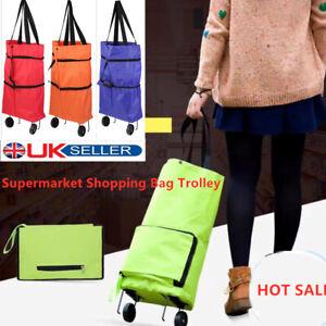 Foldable Supermarket Shopping Cart Car Luggage Trolley Folded Tug Bag Organizer