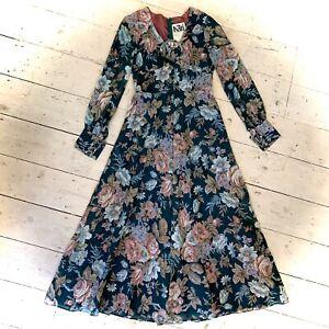 Vintage 1970's Boho Designer Kati Laura Phillips Maxi Dress Size 10