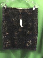 8477) NWT MSSP MAX STUDIO 4 black lace & beige lined pencil skirt above knee