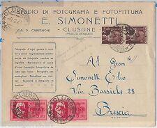 REPUBBLICA  LUOGOTENENZA - STORIA POSTALE: ESPRESSI su BUSTA di CLUSONE 1946