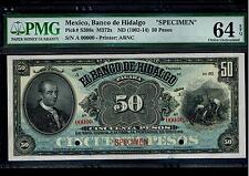 """Mexico RARE $50 Pesos""""SPECIMEN""""El Banco De Hidalgo 1902-1914 PMG 64"""