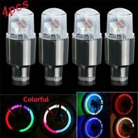 4X Car Motorcycle Bike LED Flashing Neon Wheel Tyre Valve Dust Cap Lights Lamp