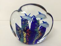 """Vintage SDS Seapoot Group Art Glass Paperweight Blue Underwater, 4 1/2"""" Tall"""