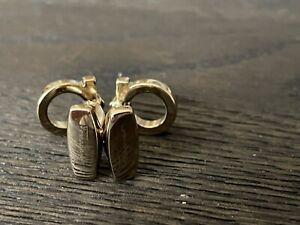 Salvatore Ferragamo Gancini Brass Cufflinks Gold Colored