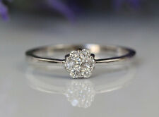 New 18K White Gold Natural Diamonds Small Flower Cluster Band Ring