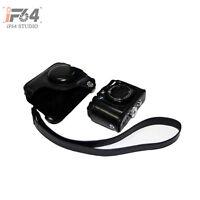 black Leather Camera Case Bag +Strap for Canon Powershot G15