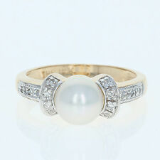 Cultured Pearl & Diamond Ring - 14k Yellow Gold 7.4mm Round Brilliant .14ctw