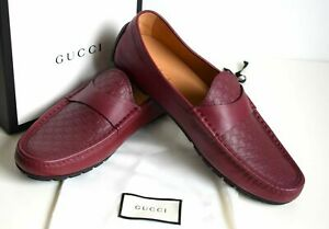 GUCCI Luxus Mens Shoes Moccasins Leather red EU 44; UK 10; US 10,5