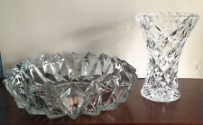 Clear glass dish 6.5 inches and small vase 4 inches height