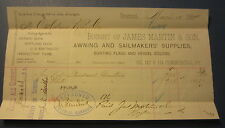 1884 James Martin Awning & Sailmaker Supplies - Billhead Document - Boston Mass