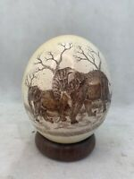 Vintage Zimbabwe Two Elephants Hand Painted Scrimshaw Ostrich Egg w/ wood stand