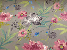Charcoal Grey Floral 100 Cotton Curtain Furnishing Edinburgh Weavers Fabric.
