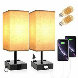 Touch Table Lamps for Bedrooms Bedside Lamp with USB Port and Outlet  Nightstand