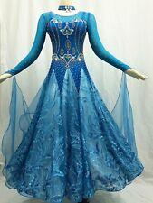 Women Ballroom Competition Dance Dress Blue Waltz Smooth Modern American Gown 12