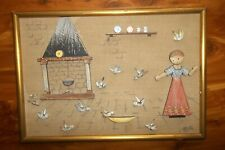 Vintage Anri Italy Wood Carved 1950's Fairy Tale Picture - Girl w/ Birds