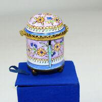 "Stamp Trinket Coin Ring Box Enameled Express Arts USA 2 3/4"" tall w blue box"