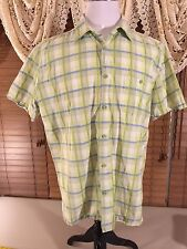 Mens CUBAVERA L Large Billards Lounge Bowling Camp Shirt Green/Blue Panes GUC