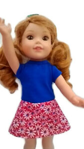 """Daisy Dress fits Wellie Wisher 14.5"""" Doll Clothes Blue with Red/White Daisies"""