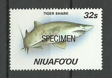 Tonga Requin Tigre Galeocerdo Cuvier Tiger Sharks Haie 1987 Surch Specimen Ovpt