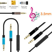 3.5mm AUX Audio Male to Male Cable For MP3 Headphone Stereo Extension Cord + Mic