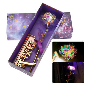 24K Gold Foil Galaxy Rose Flower Valentine's Day Gift Mother's Day Lovers Gift