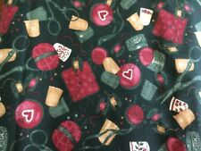 """1993 FABRIC TRADITIONS FABRIC HUNTER WITH """"NOTIONS"""" TOSSED ALL OVER BTY OOP"""