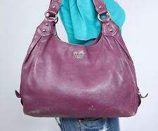 COACH MADISON MAGGIE Large Purple Leather Shoulder Hobo Tote Satchel Purse Bag