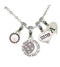 Custom Sister Love You To The Moon Silver Necklace Choose Initial Charm Gift
