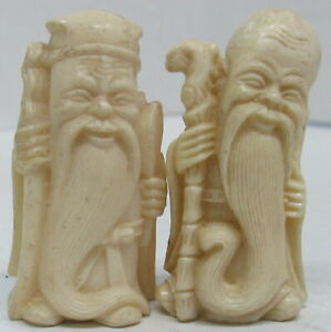 """Lot of 2 Antique Old Vtg Carved Asian Chinese Chess Pieces Bovine Bone 3 1/4"""""""