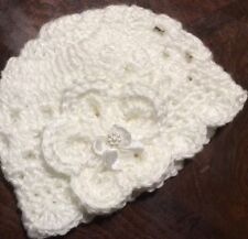 Handmade Crochet Baby Girl Hat Newborn 0/3 month White ribbon flower