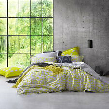Logan & Mason Ltd EQUINOX ZEST Yellow Super King Size Bed Doona Quilt Cover Set