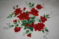 VINTAGE WILENDUR RED ROSE FLORAL OVAL TABLECLOTH