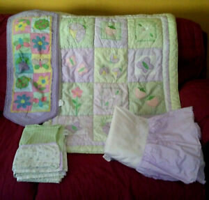 Lambs & Ivy Flowers Butterflies 5pc Crib Set Comforter Bed Skirt Valances Runner