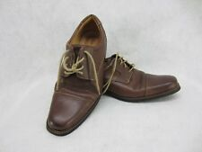 Paolo Sesto Men's Brown Leather Oxford Dress Casual Gel Insoles Shoe Size 10.5 M