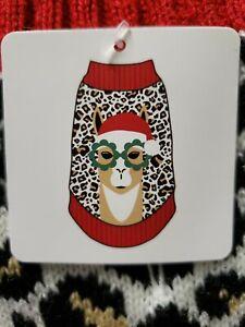 NWT ~ Animal Print Llama Holiday Christmas Dog Ugly Sweater w/ Pompom S