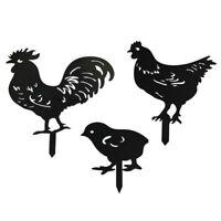 3 Pcs/set Yard Art Lawn Gift Outdoor Garden Chicken Stake Animal Party Decor HOT
