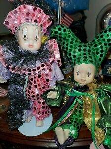 """Lot Of 2 Collectible SHOW STOPPERS  Porcelain JESTERS 8"""" Vintage"""