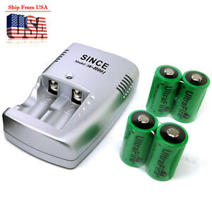 3V 1000mAh CR123A 17335 17345 Lithium Rechargeable Batteries w/ Battery Charger