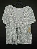 14th & Union Womens V-Neck Short Sleeve Polka Dot Tie Front Top Blouse L Petite